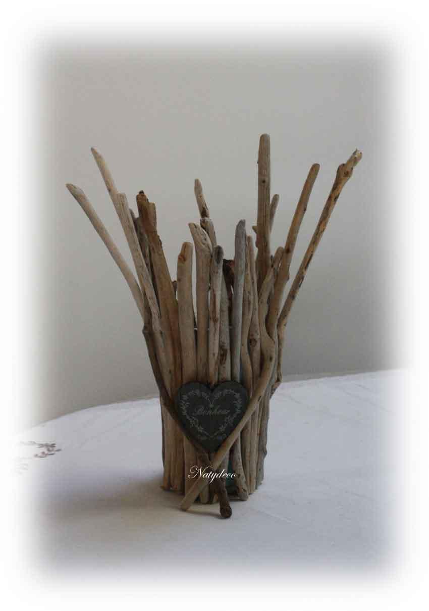 Bougeoir en bois flott for Vase avec bois flotte